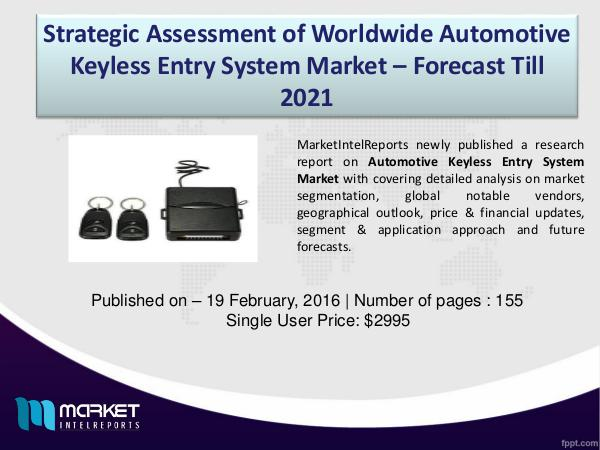 Market Challenges of Automotive Keyless Entry System Market 1