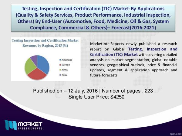 Global Testing, Inspection and Certification Market Analysis2015-2020 1