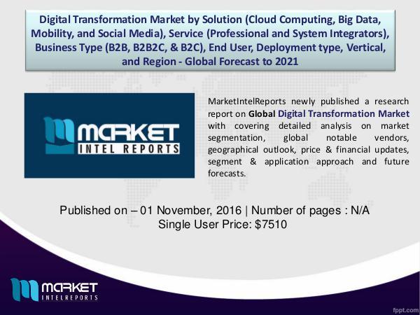 Competitor Analysis of Global Digital Transformation Market | 2016 | 1