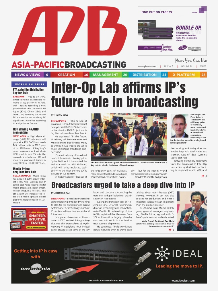 Asia-Pacific Broadcasting (APB) July 2017 Volume 34, Issue 5