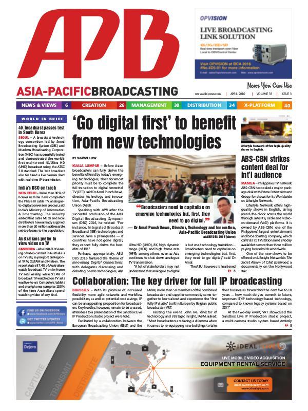 Asia-Pacific Broadcasting (APB) April 2016 Volume 33, Issue 3