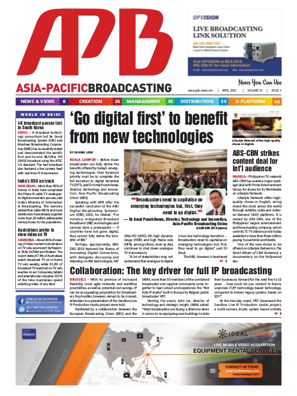 Asia-Pacific Broadcasting (APB) April 2016 Volume 33, Issue 3