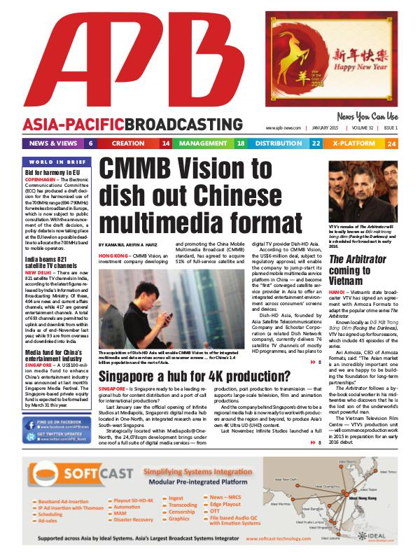 Asia-Pacific Broadcasting (APB) January 2015 Volume 32, Issue 1