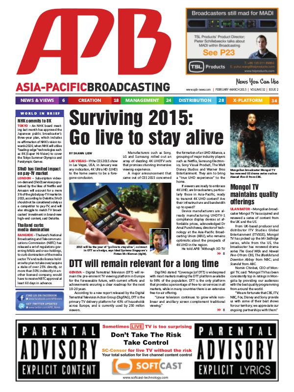 Asia-Pacific Broadcasting (APB) February/March 2015 Volume 32, Issue 2