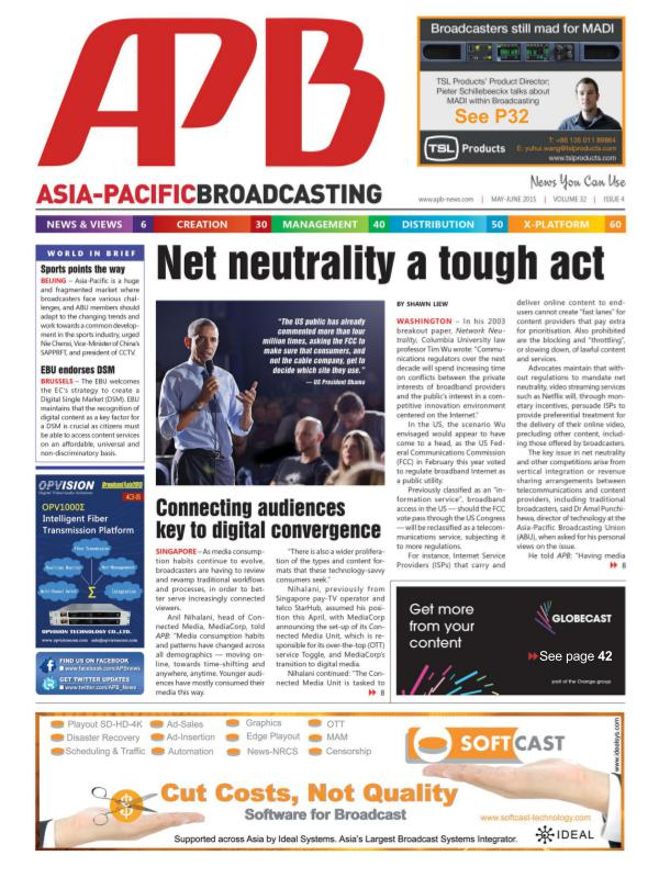 Asia-Pacific Broadcasting (APB) May/June 2015 Volume 32, Issue 4