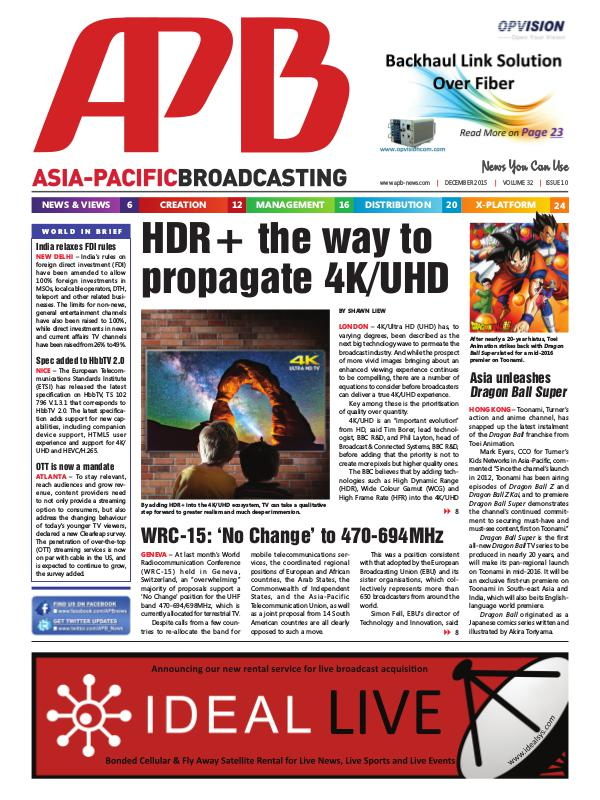 Asia-Pacific Broadcasting (APB) December 2015 Volume 32, Issue 10