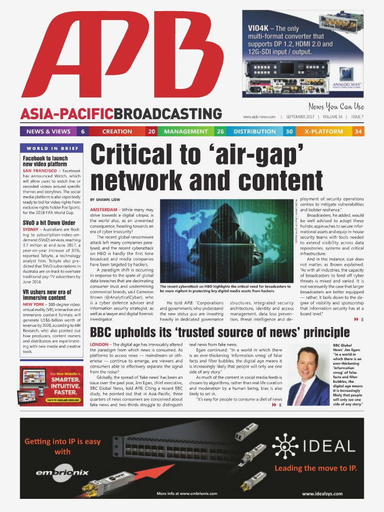 Asia-Pacific Broadcasting (APB) September 2017 Volume 34, Issue 7