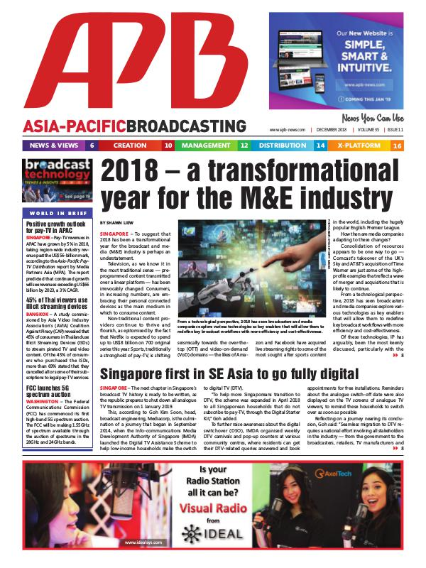 Asia-Pacific Broadcasting (APB) December 2018 Volume 35, Issue 11