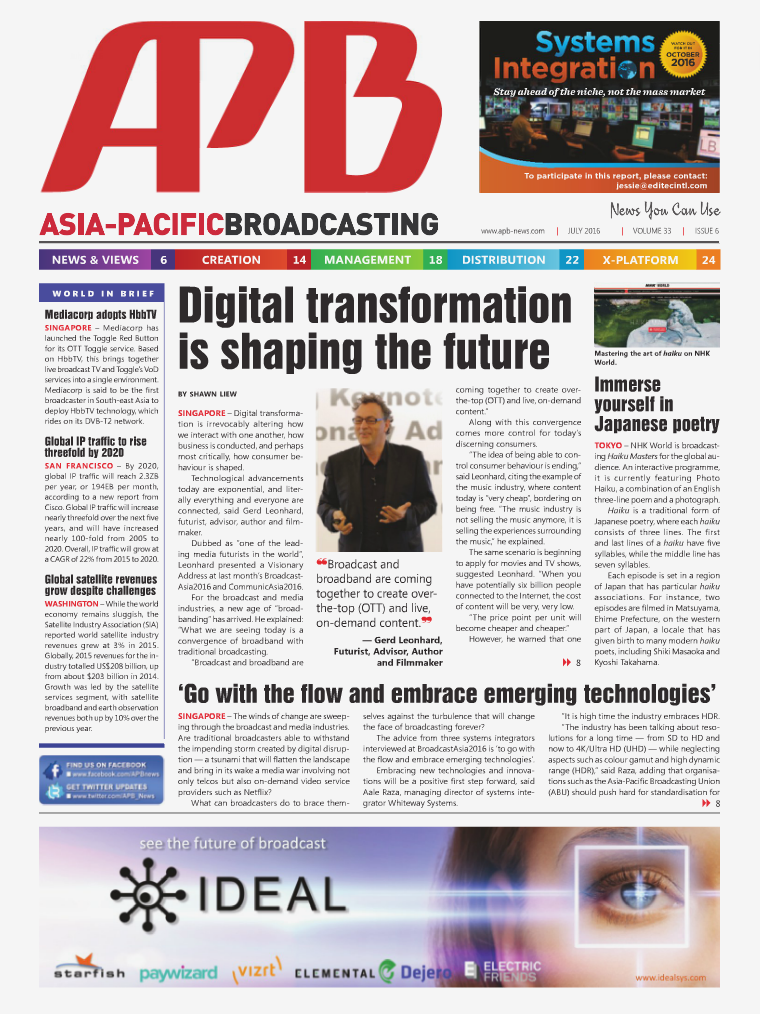 Asia-Pacific Broadcasting (APB) July 2016 • Volume 33, Issue 6