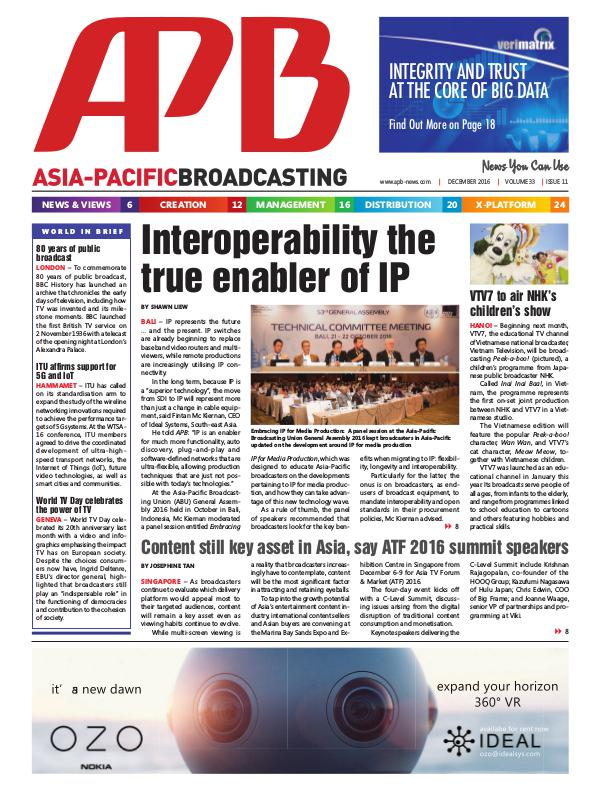 Asia-Pacific Broadcasting (APB) December 2016 Volume 33, Issue 11