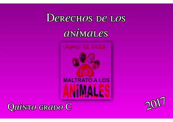 Derechos de los animales. Quinto grado C. 2017 5 C DERECHOS DE LOS ANIMALES