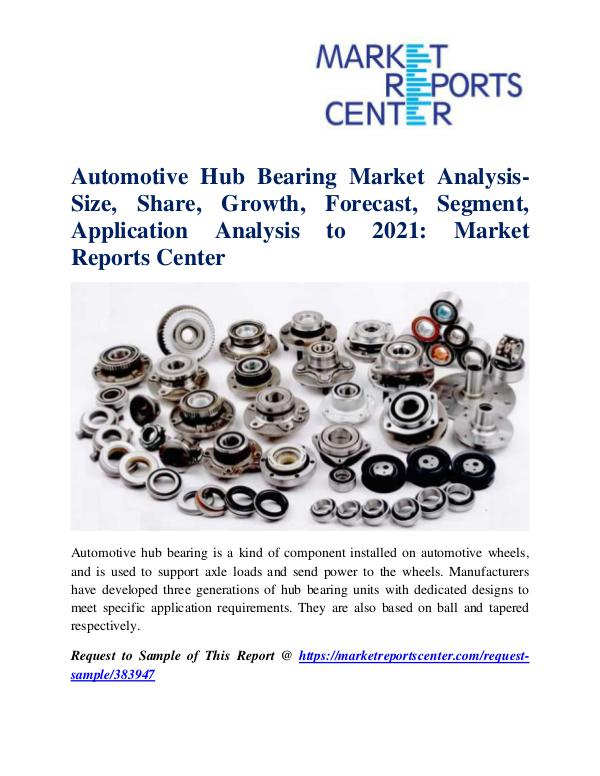 Market Research Reports Automotive Hub Bearing Market