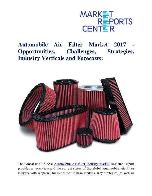 Market Research Reports Automobile Air Filter Market