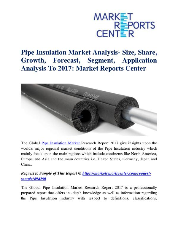 Market Research Reports Pipe Insulation Market