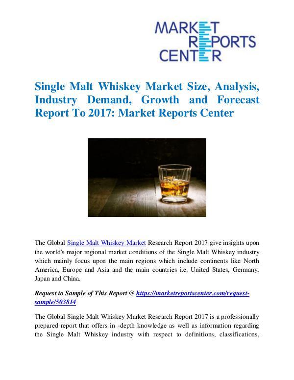 Market Research Reports Single Malt Whiskey Market