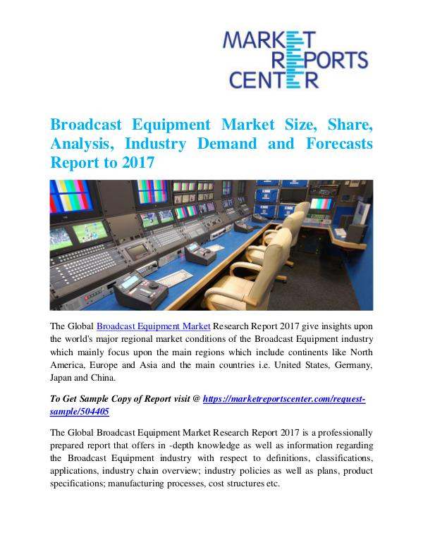 Market Research Reports Broadcast Equipment Market