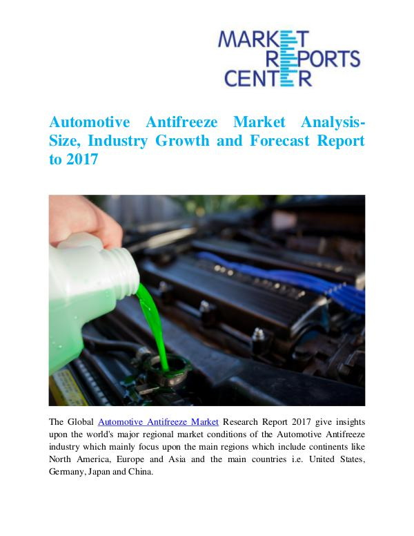 Market Research Reports Automotive Antifreeze Market