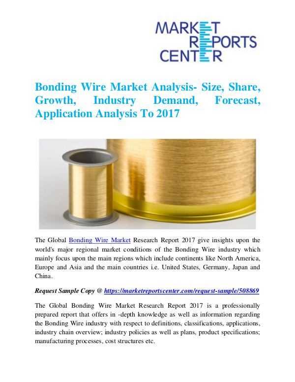 Market Research Reports Bonding Wire Market