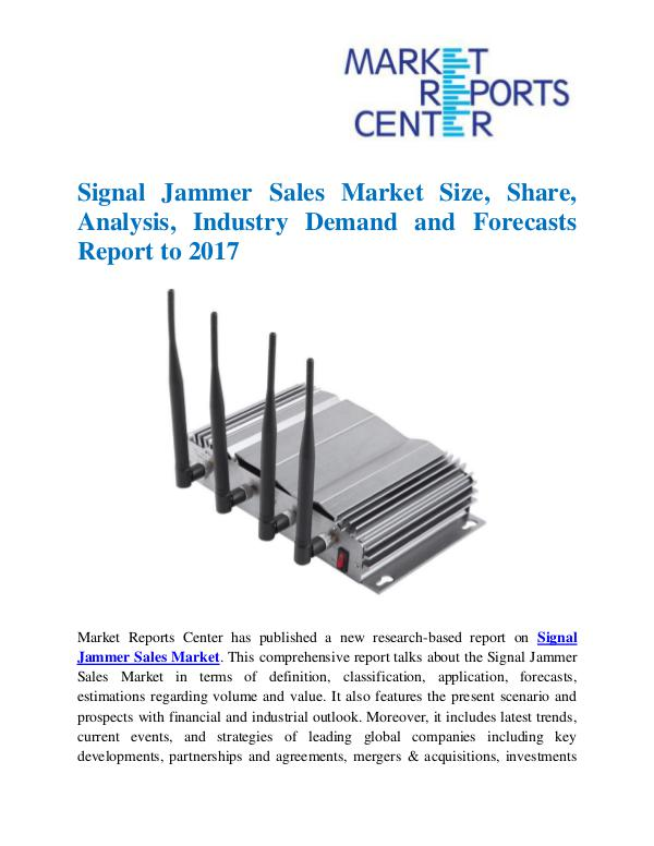 Market Research Reports Signal Jammer Sales Market