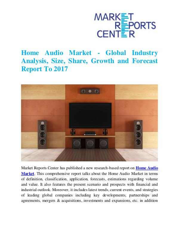 Market Research Reports Home Audio Market