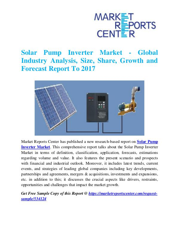 Market Research Reports Solar Pump Inverter Market