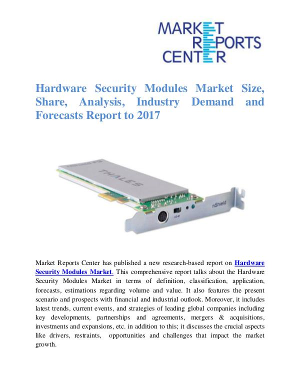 Market Research Reports Hardware Security Modules Market