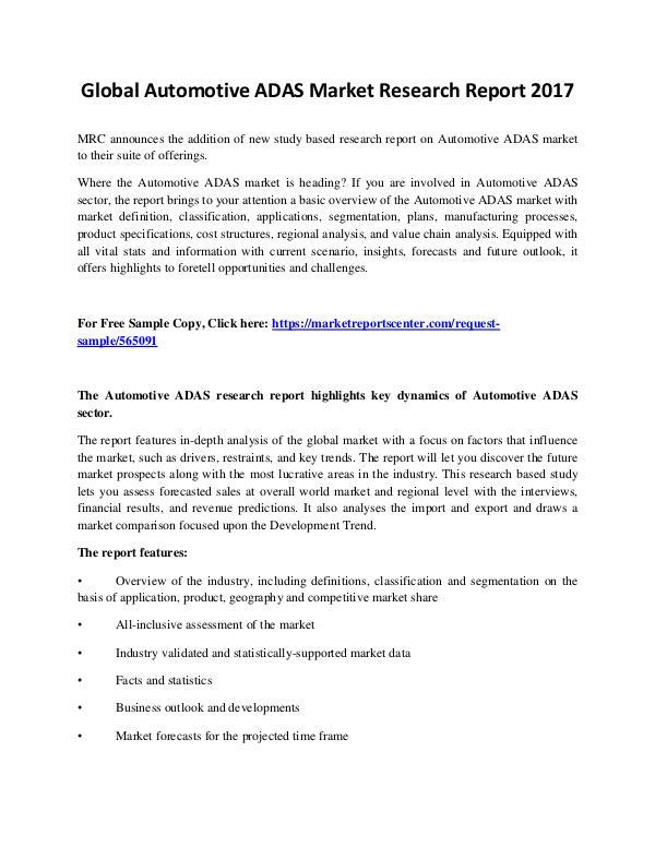 Market Reports Automotive ADAS Market
