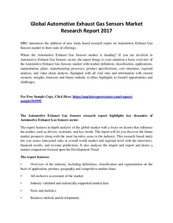 Market Reports Automotive Exhaust Gas Sensors Market