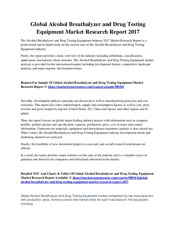 Market Reports Alcohol Breathalyzer & Drug Testing Equip. Market