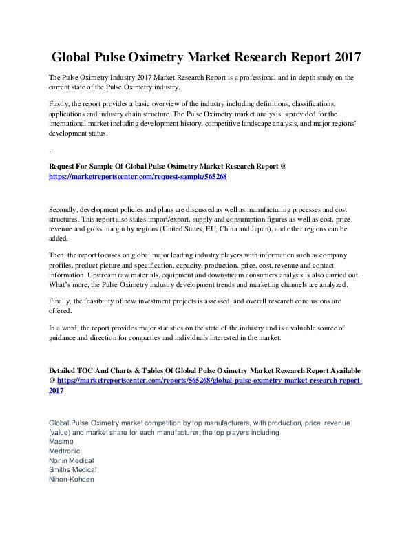 Market Reports Pulse Oximetry Market