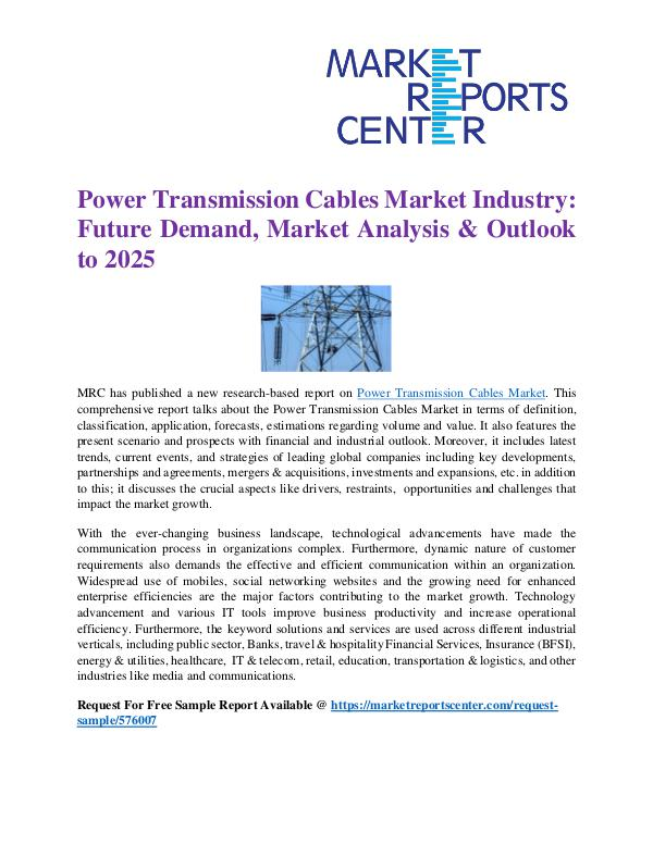 Market Reports Power Transmission Cables Market