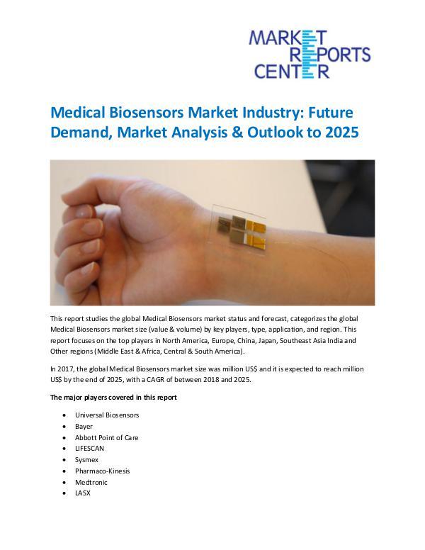 Market Research Reprots- Worldwide Medical Biosensors Market
