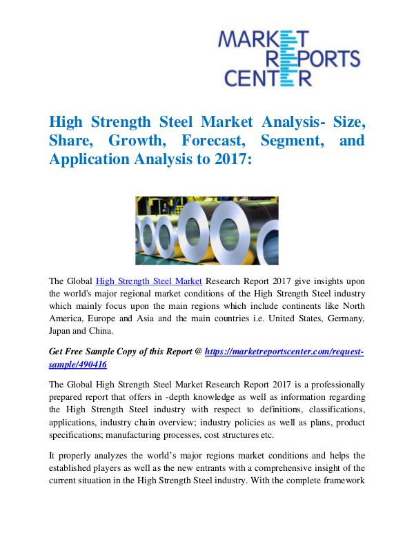 Market Reports High Strength Steel Market