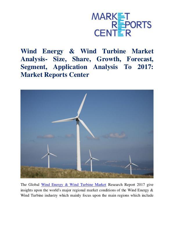 Market Research Reports Wind Energy & Wind Turbine Market