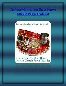 Craftera Multicolour Brass Karwa Chauth Pooja Thali Set