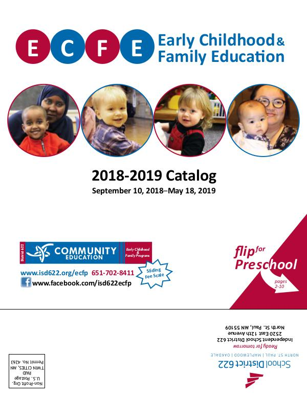 Early Childhood Family Education 2018-2019 Catalog