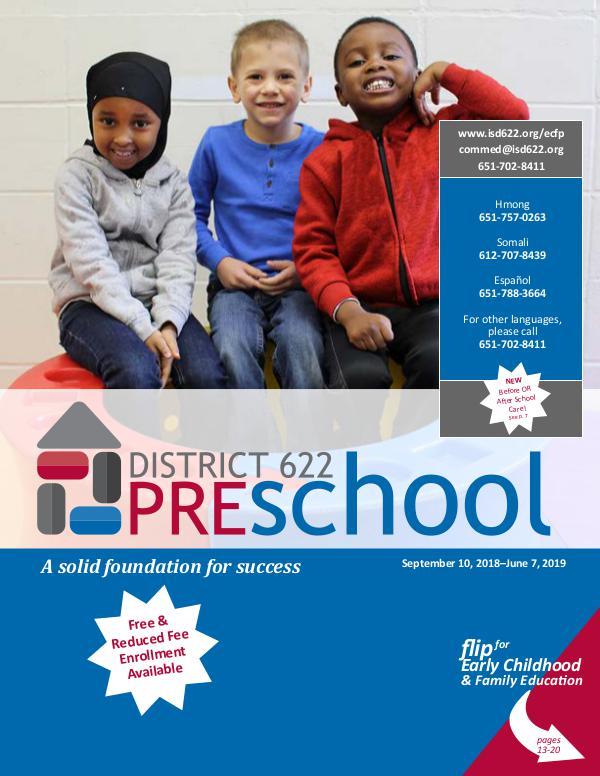 District 622 Preschool Catalog 2018-2019 Preschool Catalog