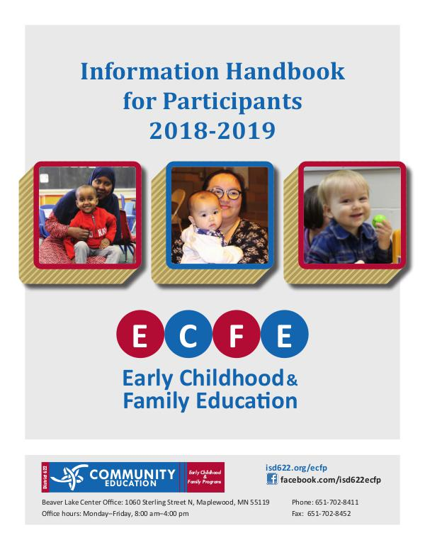 Early Childhood Family Education ECFE Parent Handbook 2018-2019