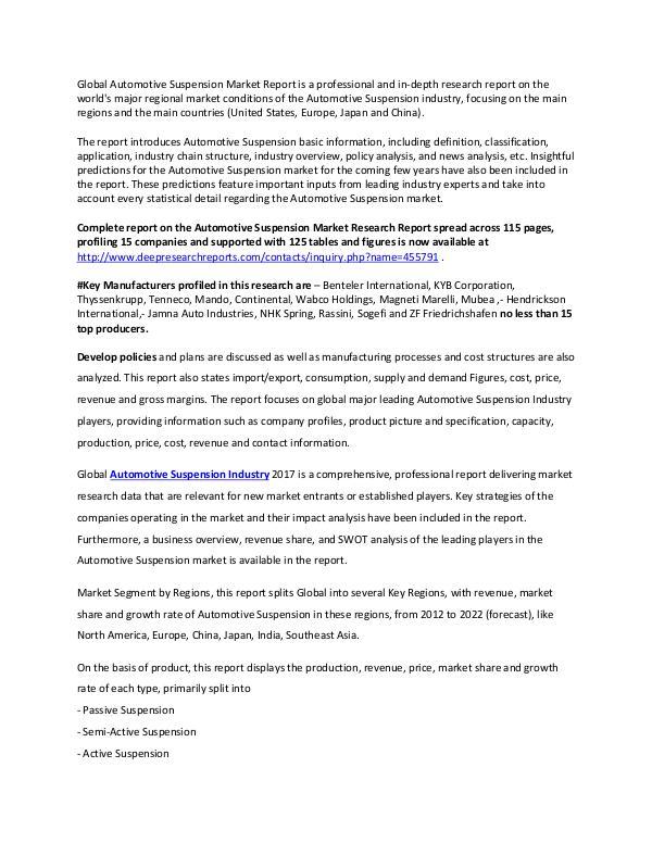 Global Automotive Suspension Industry 2017 Market Research Report Automotive Suspension market