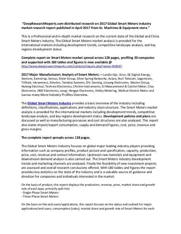 Global Smart Meters Industry 2017 Market Research Report Smart Meters Market
