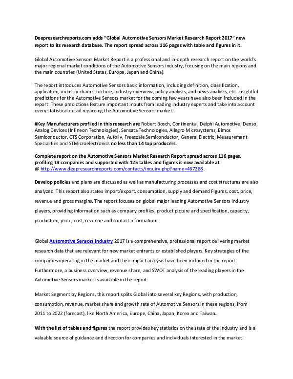Global Automotive Sensors Industry 2017 Market Research Report Global Automotive Sensors Market