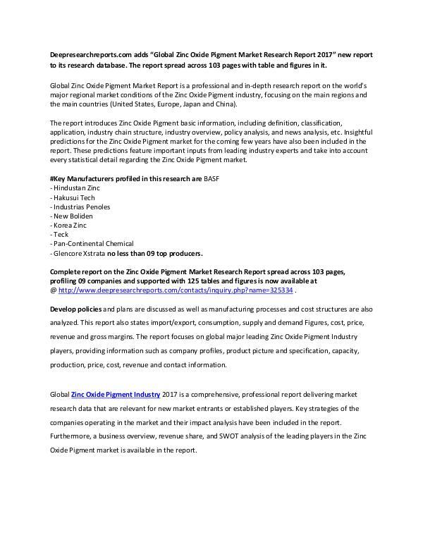 Global Zinc Oxide Pigment Industry 2017 Market Research Report Global Zinc Oxide Pigment Market