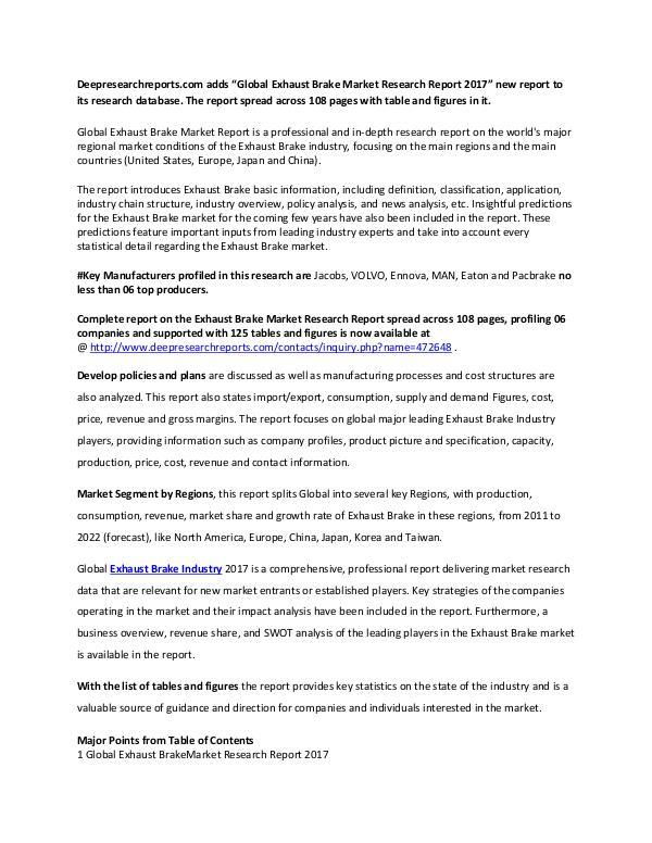 Exhaust Brake Industry 2017 Market Research Report Global Exhaust Brake Market