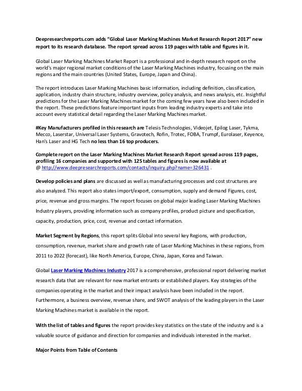 Laser Marking Machines Industry 2017 Market Research Report Global Laser Marking Machines Market