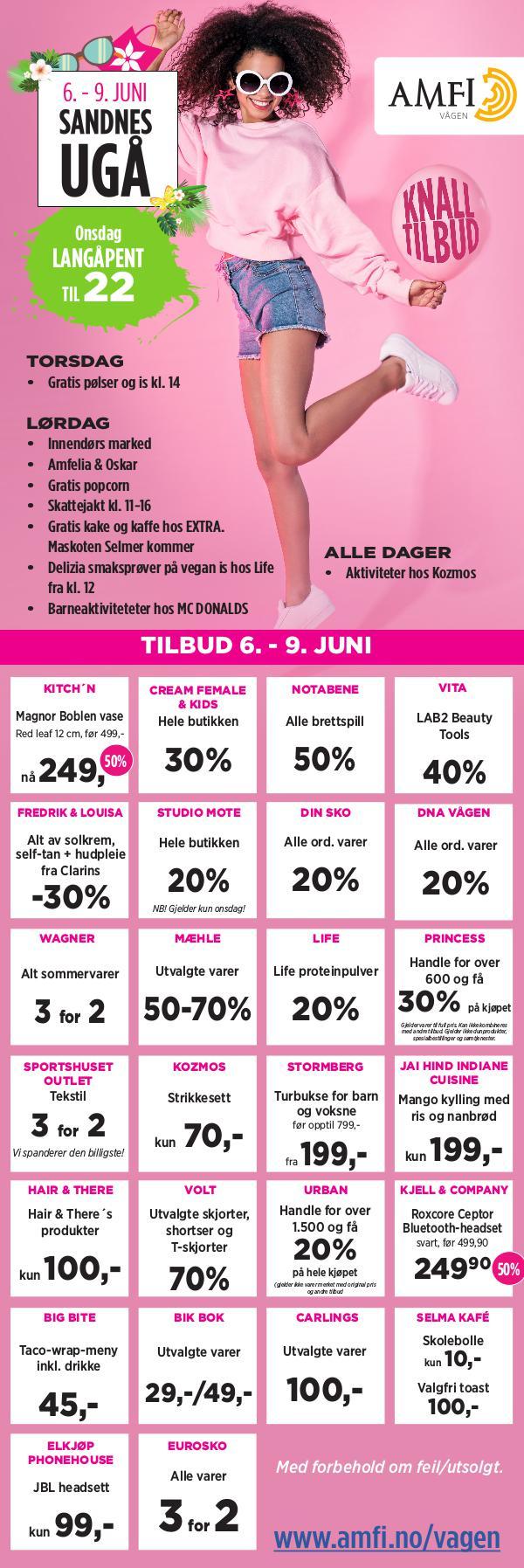 AMFI Vågen Knalltilbud på AMFI Vågen6. - 9. juni - Sandnesugå