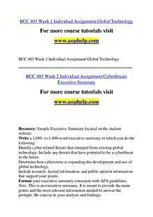 BCC 403 Seek Your Dream /uophelp.com