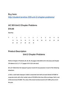 AC 309 Unit 2 Chapter Problems