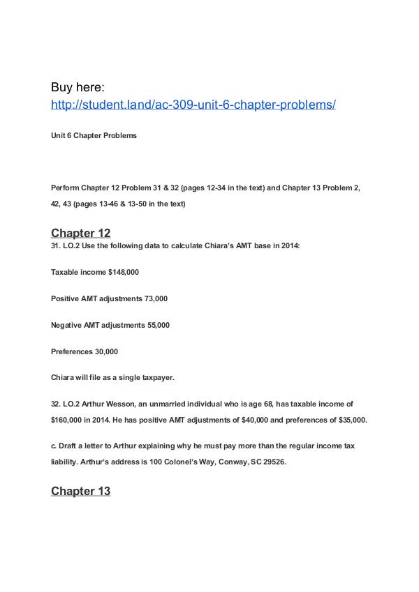 AC 309 Unit 6 Chapter Problems Park University