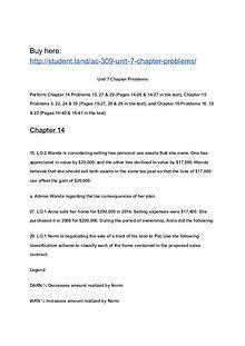 AC 309 Unit 7 Chapter Problems