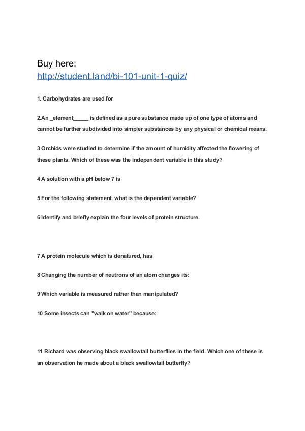 BI 101 Unit 1 Quiz Park University